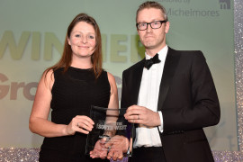 Lizzie Jones, Operations Director of SC Group, accepts the Made in the South West Award 2017